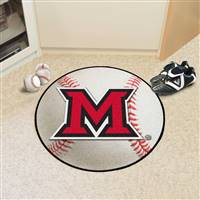 "Miami of Ohio Baseball Rug 29"" diameter"