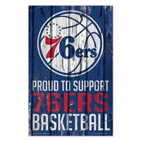 Philadelphia 76ers Sign 11x17 Wood Proud to Support Design - Special Order