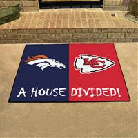 "Denver Broncos - Kansas City Chiefs House Divided Rug 34""x45"""