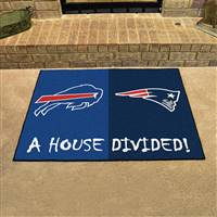 "New England Patriots - Buffalo Bills House Divided Rug 34""x45"""