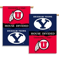 "BYU - Utah 2-Sided 28"" X 40"" Banner W/ Pole Sleeve House Divided"