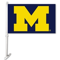 Michigan Wolverines Car Flag W/Wall Brackett