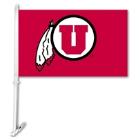 Utah Utes Car Flag W/Wall Brackett