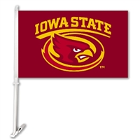 Iowa State Cyclones Car Flag W/Wall Brackett