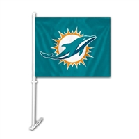 Miami Dolphins Car Flag w/Wall Bracket