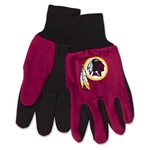 Washington Redskins Two Tone Adult Size Gloves