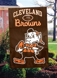 "The Party Animal  44"" x 28"" NFL Orange Cleveland Browns Applique Banner Flag"