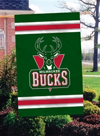 "Milwaukee Bucks NBA Oversized 44"" x 28"" Applique Banner Flag"