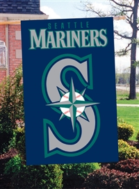 "Seattle Mariners MLB Oversized 44"" x 28"" Applique Banner Flag"