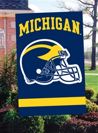 "Michigan Wolverines Helmet Design Oversized 44"" x 28"" Applique Banner Flag"