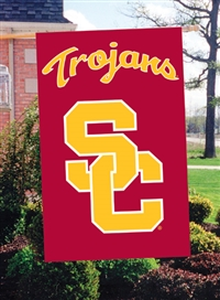 "USC Trojans Interlocking SC Oversized 44"" x 28"" Applique Banner Flag"