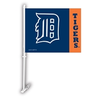 Detriot Tigers MLB Car Flag W/Wall Brackett