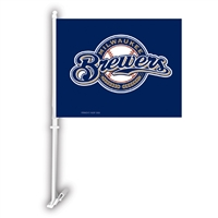 Milwaukee Brewers MLB Car Flag W/Wall Brackett
