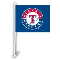 Texas Rangers MLB Car Flag W/Wall Brackett