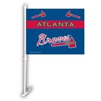 Atlanta Braves MLB Car Flag W/Wall Brackett