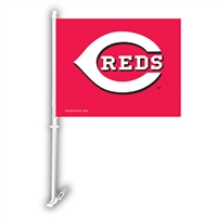 Cincinnati Reds MLB Car Flag W/Wall Brackett