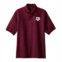 Texas A&M Aggies NCAA Small Block Logo Silk Touch Maroon Sport Polo (Medium)