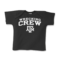 Texas A&M Aggies NCAA Wrecking Crew Black Infant Lap Shoulder T-Shirt (NB)