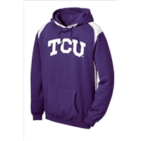 Texas Christian Horned Frogs NCAA Arch Solid Logo Purple/White Hooded Sweatshirt (Large)