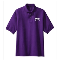 Texas Christian Horned Frogs NCAA Small Arch Solid Logo Purple Silk Touch Sport Polo (3X Large)