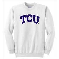 Texas Christian Horned Frogs NCAA Arch Solid Logo White Crewneck Sweatshirt