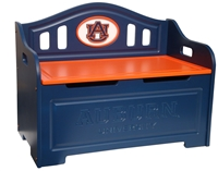 Auburn Tigers Painted Storage Bench