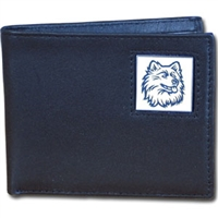 College Leather Bifold Wallet - UCONN Huskies