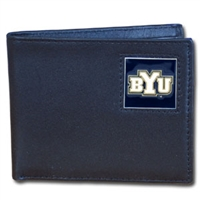 College Leather Bifold Wallet - BYU Cougars