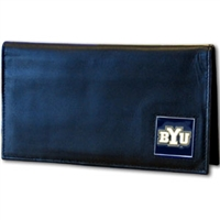 Deluxe College Leather Checkbook - BYU Cougars