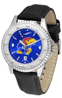 Kansas Jayhawks Competitor AnoChrome Watch, Poly/Leather Band