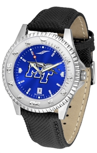 Middle Tennessee State (MTSU) Blue Raiders Competitor AnoChrome Watch, Poly/Leather Band