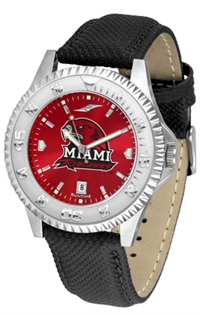 Miami (Ohio) Redhawks Competitor AnoChrome Watch, Poly/Leather Band