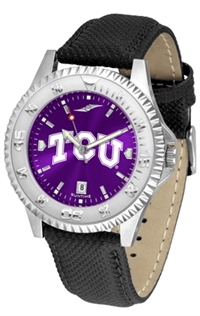 Texas Christian Horned Frogs Competitor AnoChrome Watch, Poly/Leather Band