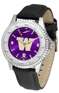 Washington Huskies Competitor AnoChrome Watch, Poly/Leather Band