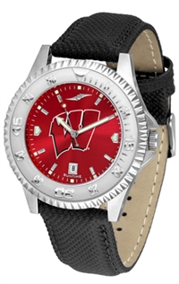 Wisconsin Badgers Competitor AnoChrome Watch, Poly/Leather Band