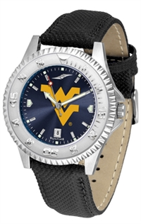 West Virginia Mountaineers Competitor AnoChrome Watch, Poly/Leather Band