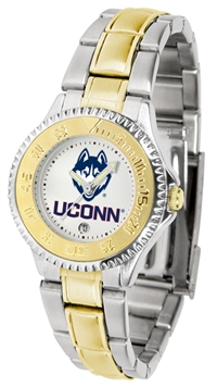 Connecticut Huskies Competitor Anochrome Dial Two Tone Band Watch - Ladies