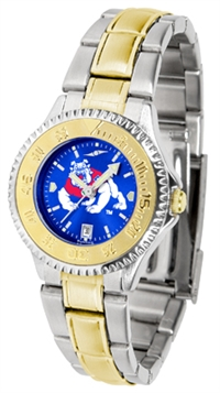 Fresno State Bulldogs Competitor Anochrome Dial Two Tone Band Watch - Ladies