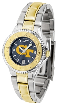 Georgia Tech Yellow Jackets Competitor Anochrome Dial Two Tone Band Watch - Ladies