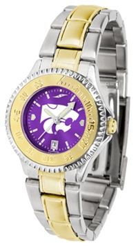 Kansas State Wildcats Competitor Anochrome Dial Two Tone Band Watch - Ladies