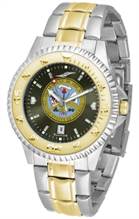 United States Army Competitor Anochrome Dial Two Tone Band Watch
