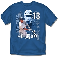 New York Yankees MLB Alex Rodriguez #13 Players Shield Mens Tee (Navy) (Small)