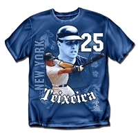 New York Yankees MLB Mark Teixeira #25 Players Shield Boys Tee (Navy) (Medium)