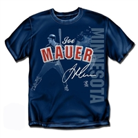 Minnesota Twins MLB Joe Mauer Players Stitch Mens Tee (Navy) (Large)