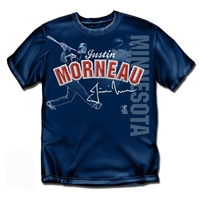 Minnesota Twins MLB Justin Morneau Players Stitch Mens Tee (Navy) (Large)