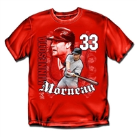 Minnesota Twins MLB Justin Morneau #33 Players Shield Mens Tee (Red) (Medium)