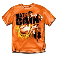 San Francisco Giants MLB Matt Cain #18 Fireball Mens Tee (Orange) (Medium)