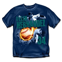 Seattle Mariners MLB Felix Hernandex #34 Fireball Mens Tee (Navy) (Large)