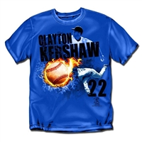 Los Angeles Dodgers MLB Clayton Kershaw #22 Fireball Mens Tee (Royal) (Small)