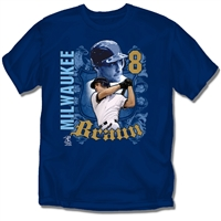 Milwaukee Brewers MLB Ryan Braun #8 Players Shield Boys Tee (Navy) (Large)